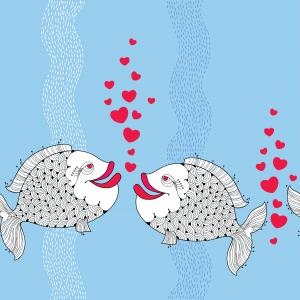 Seamless pattern with cartoon fishes  for Valentine day.