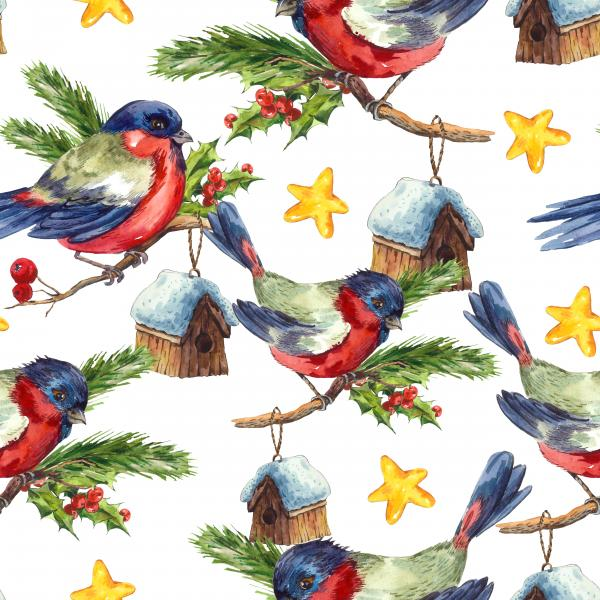 Merry Christmas and Happy New Year Watercolor pattern with Bullfinch Rowan Holly Pine cone