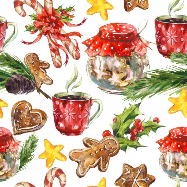Watercolor Christmas pattern with cookies, candy, cup of tea, gingerbread, pine cones and holly