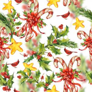 Watercolor Christmas pattern with sweets candy, stars, birds and holly