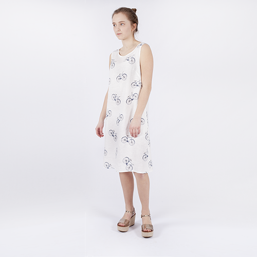 Linen dress with bicycles pattern