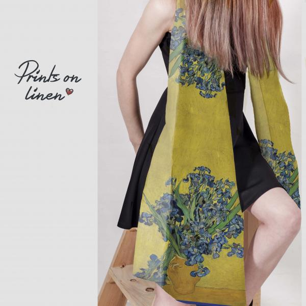 Linen scarf with Vincent Van Gogh art