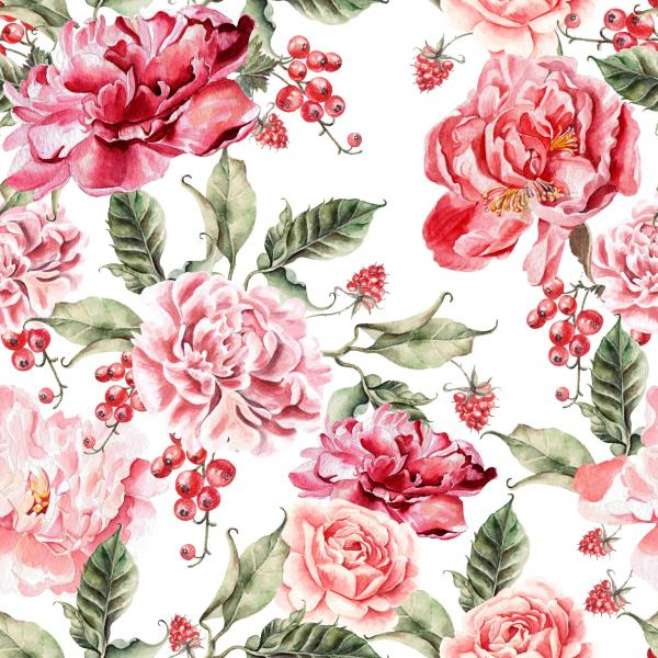 Pattern with peony flowers