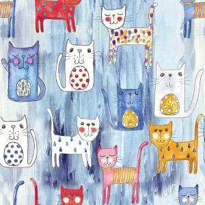 Cats pattern BLUE background
