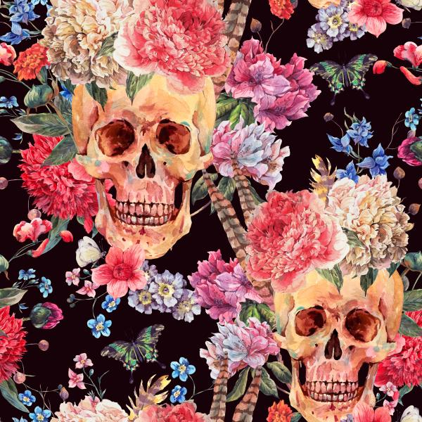 Pattern with skull and pink peony on black