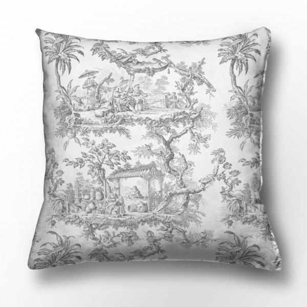 Cushion cover /  Toile de Jouy / Grey edition
