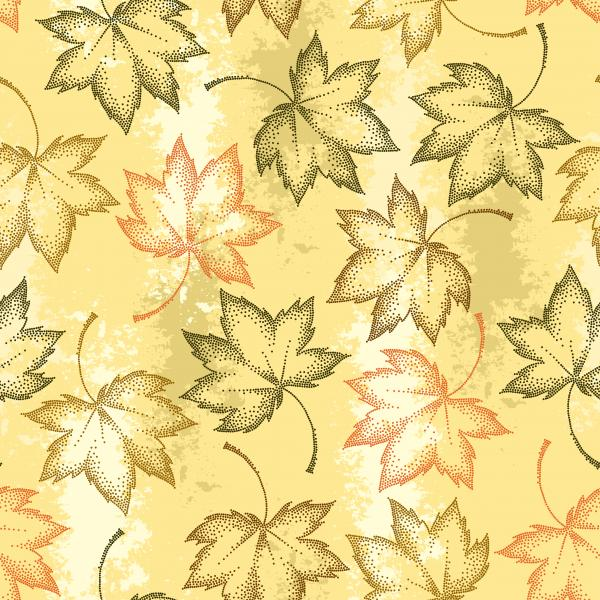 Pattern with dotted maple leaves on the pastel beige background.