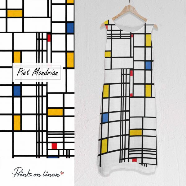 Long linen dress / Piet Mondrian