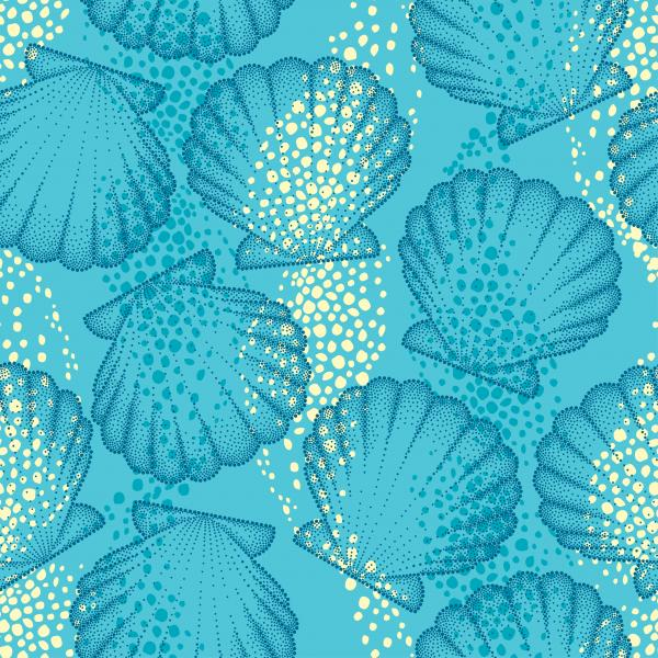 Vector seamless pattern with dotted Sea shell or Scallop on the blue background. Maritime. Marine and aquatic theme. Dotted seashell for summer design.