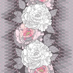 Seamless pattern with white peony, ornate leaves and decorative pink lace on the gray background.