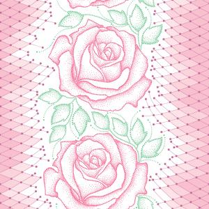 Seamless pattern with dotted pink roses, green leaves and decorative lace on the white background.