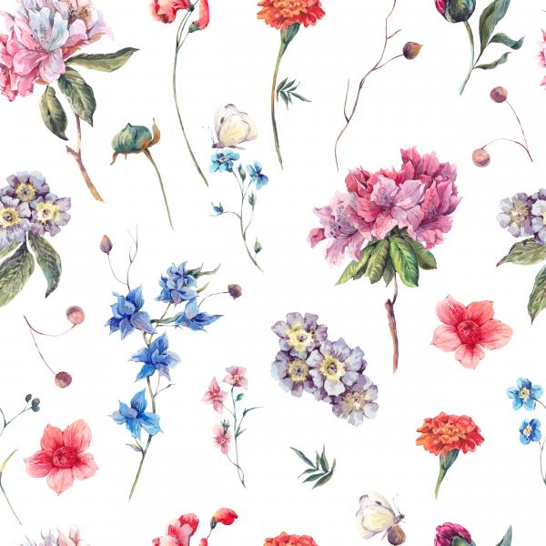 Watercolor garden flowers pattern