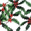 Watercolor pattern with holly branches