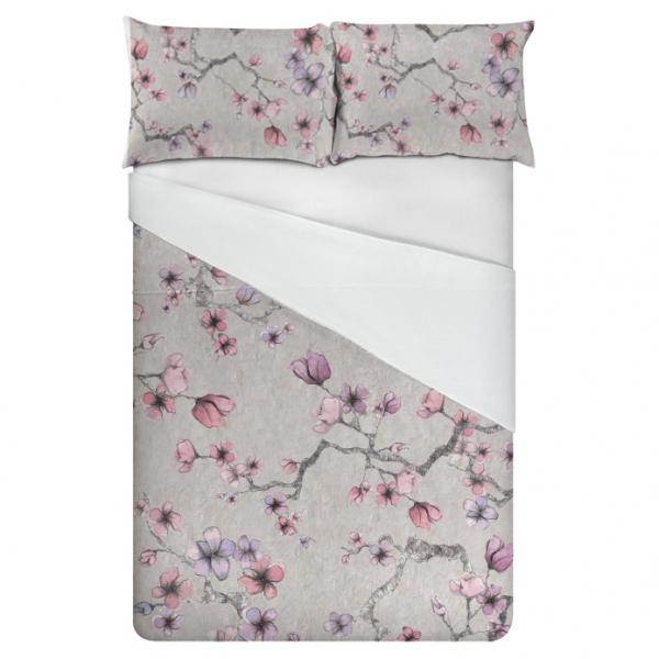 Linen bedding set / Midnight Flowers (Pale)