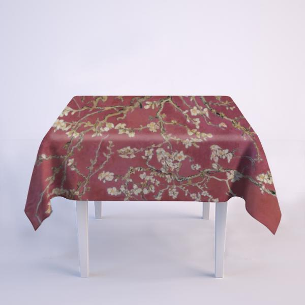 """Tablecloth """"Almond blossom"""" / Wine red"""