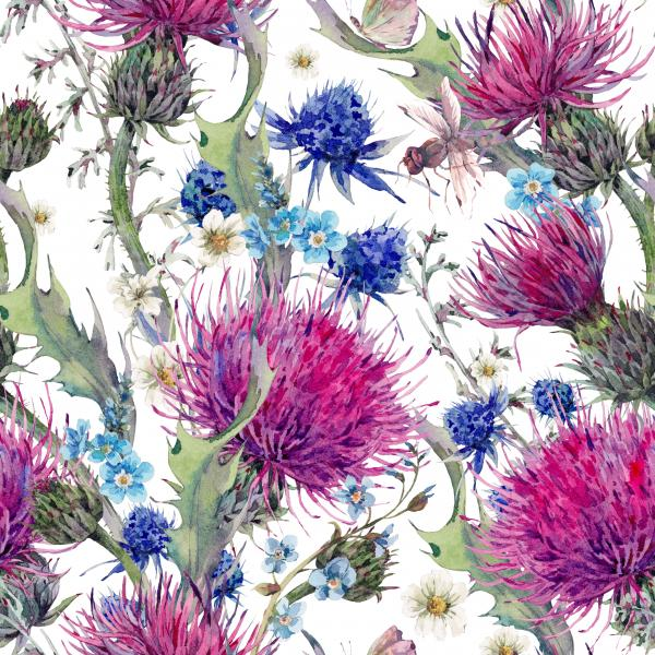 Summer watercolor pattern with wild flowers and dragonfly