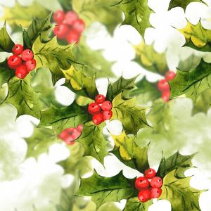 Watercolor pattern with holly