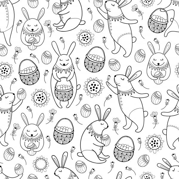 Seamless pattern with outline Easter rabbits, egg, basket and flowers on the white background.
