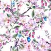 Watercolor spring pattern with pink flowers