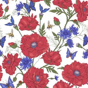 Summer Vintage Floral Pattern with Blooming Red Poppies Cornflowers Ladybird Bumblebee Bee and Blue Butterflies