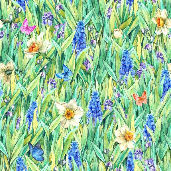 Gentle vintage meadow watercolor pattern with green grass and daffodils, violets, muscari and butterflies