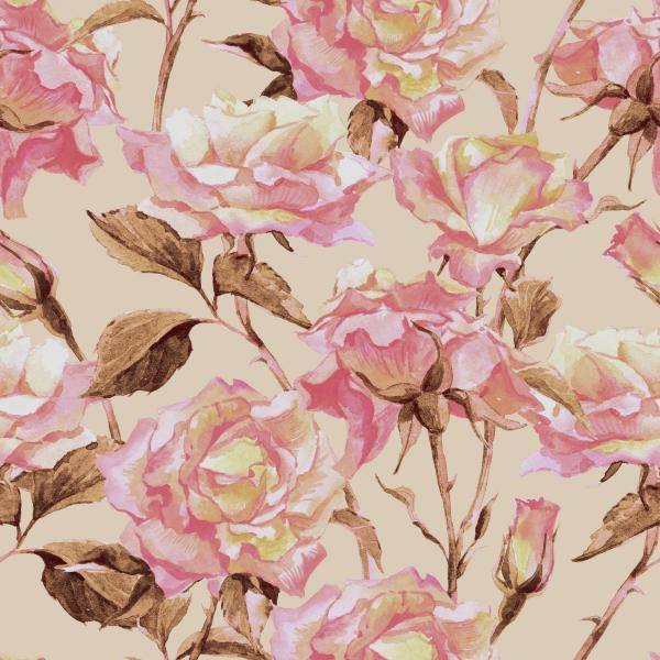 Watercolor Floral Pattern with Pink Garden Roses