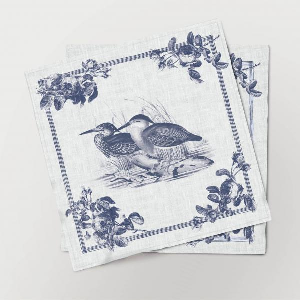 Napkins set /  Toile de Jouy Birds / Bittern