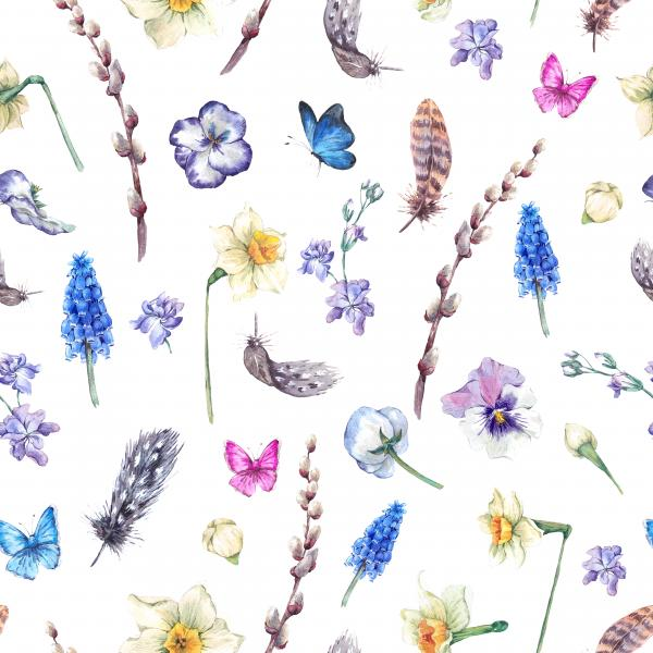 Spring watercolor pattern with daffodils, violets, feathers, muscari, butterflies and pussy willow