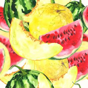Watercolor pattern with melon and watermelon