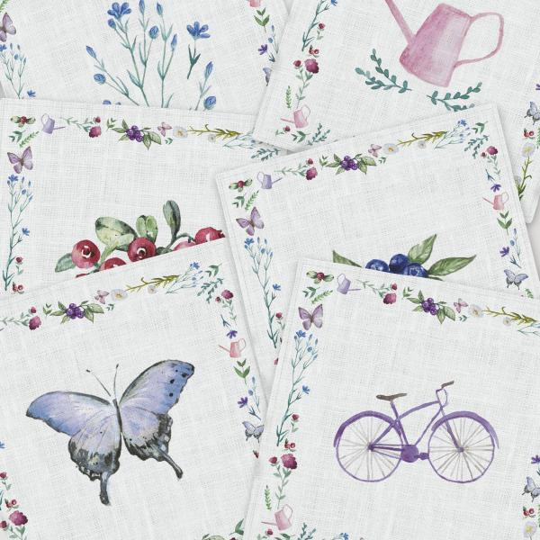 Napkins set / Bicycle and Butterfly
