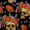 Watercolor pattern with skulls, flowers, bugs and feathers on black