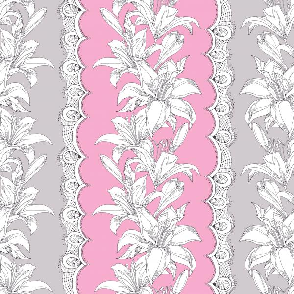 Seamless pattern with ornate white Lily flower, bud, leaves and decorative white lace on the pink background.