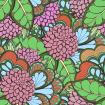 Abstract colored floral pattern with trefoils