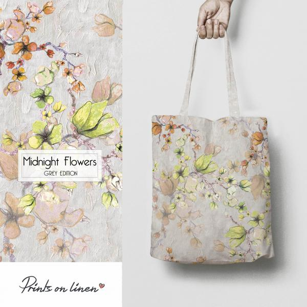 Linen tote /  Midnight Flowers / Grey edition