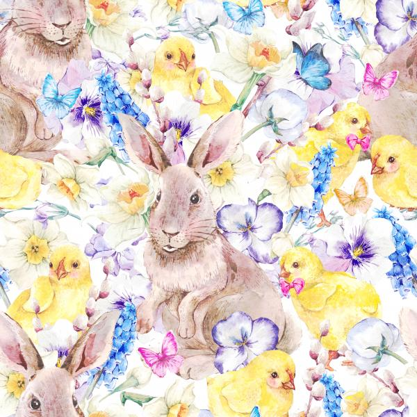 Watercolor vintage Happy Easter pattern with cute bunny, chickens, flowers and butterflies