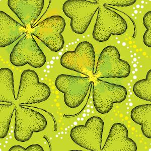 Seamless pattern with dotted four leaf clover.