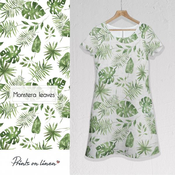 Linen dress / Monstera leaves
