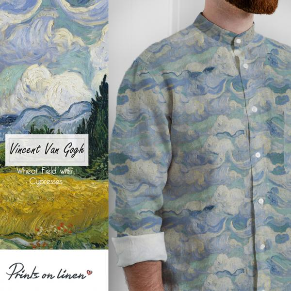 Men shirt / Wheat Field with Cypresses