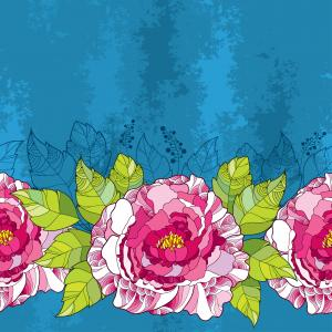 Seamless pattern with peony flower in pink and green leaves on the blue textured background.