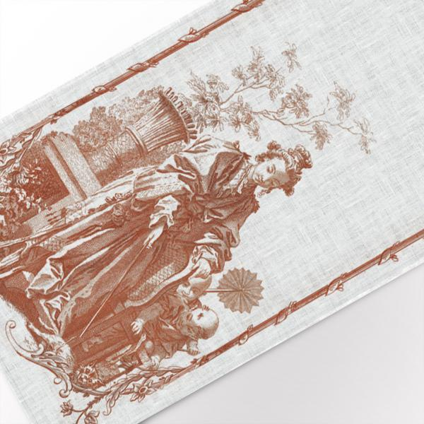 Table runner / Women playing with a cat II