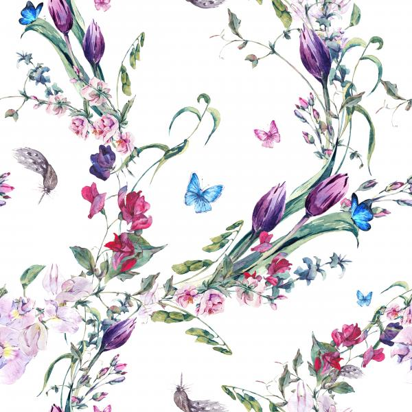 Watercolor spring pattern with butterflies, Sweet Peas and Tulips