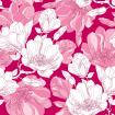 Seamless pattern with ornate magnolia flower in pink and green leaves on the textured background in pastel color.