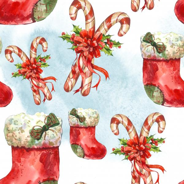 Watercolor pattern with Christmas socks, ribbon, candy