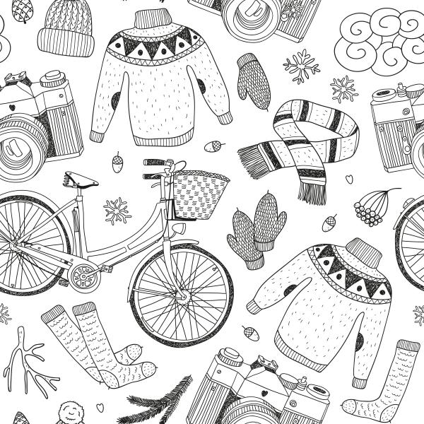 pattern with various items
