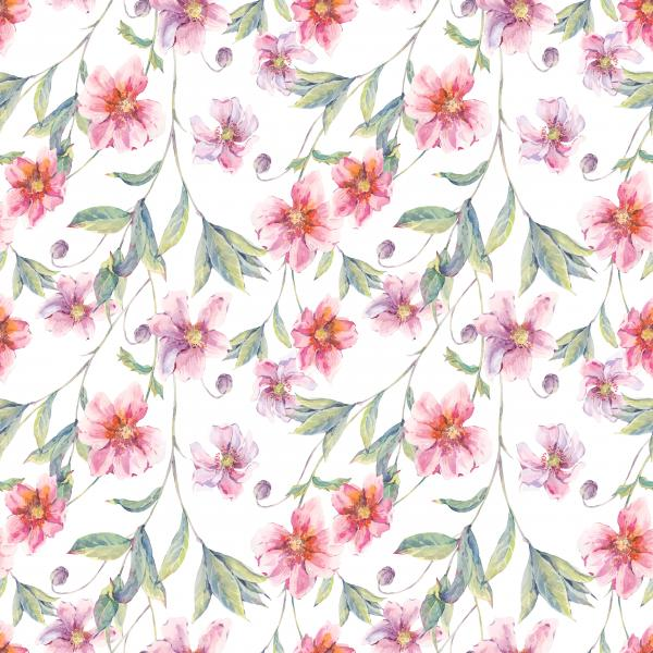 Watercolor vintage floral pattern with pink wildflowers and twigs