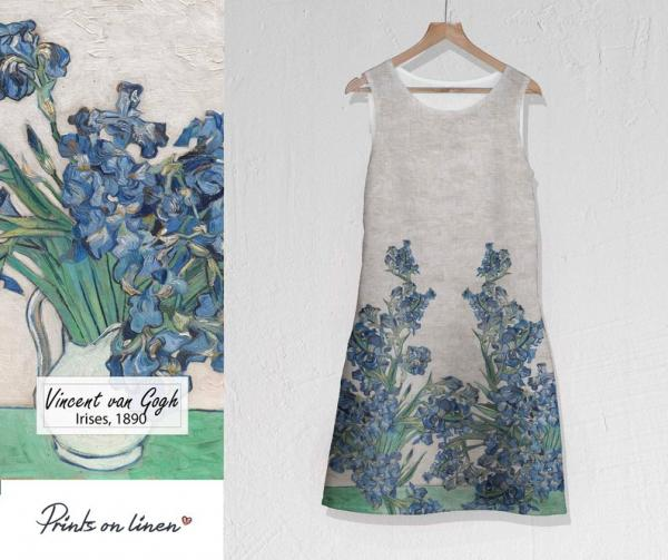 Linen dress / Irises (white)