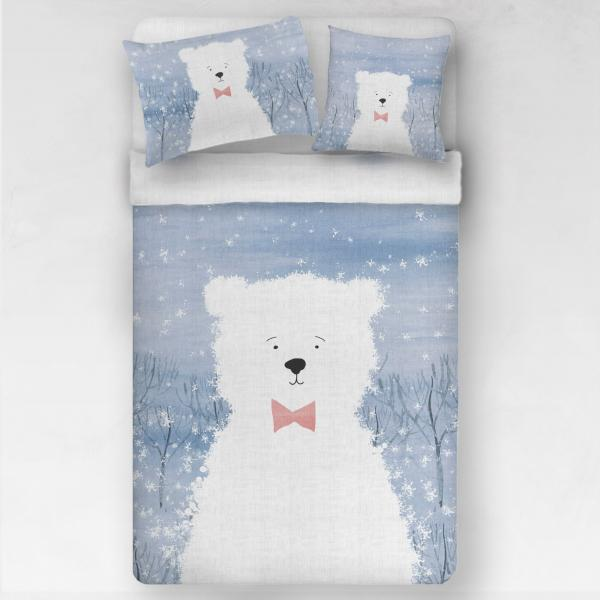 Linen bedding set / Bear with red ribbon