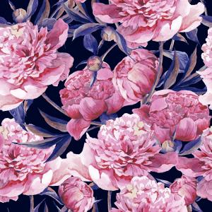 Watercolor pattern with blooming pink peonies