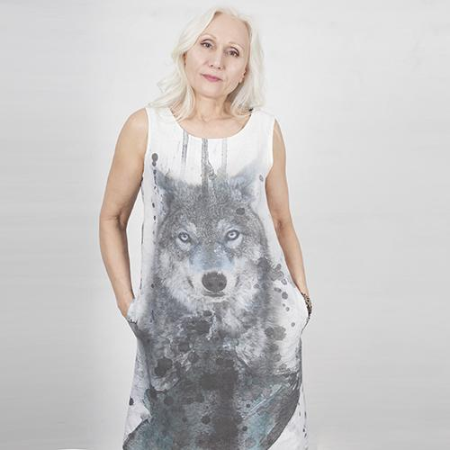 Linen dress with wolf print