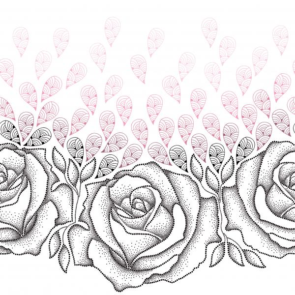 Seamless pattern with dotted black roses, leaves and stylized pink petals on the white background.